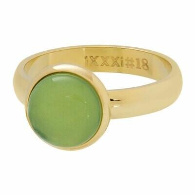 iXXXi Ring 4mm goudkleur - cateye green stone 10 mm