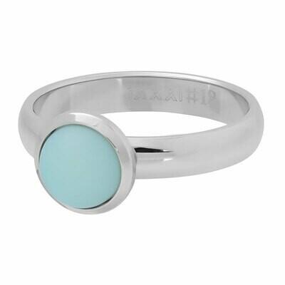 iXXXi Ring 4mm zilverkleur - mat green stone 10 mm
