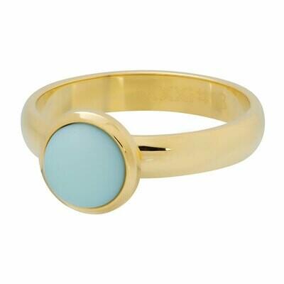 iXXXi Ring 4mm goudkleur - mat green stone 10 mm