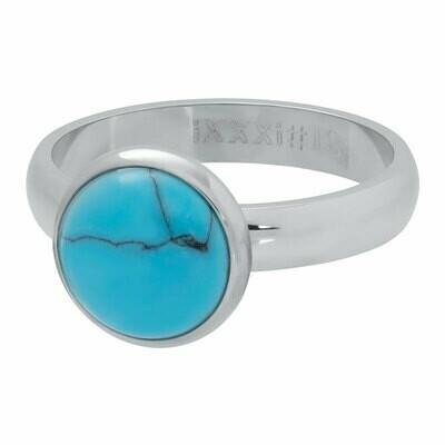 iXXXi Ring 4mm zilverkleur - Turquoise stone 12 mm