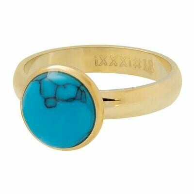 iXXXi Ring 4mm goudkleur - Turquoise stone 12 mm