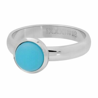 iXXXi Ring 4mm zilverkleur - matt aqua stone 10 mm