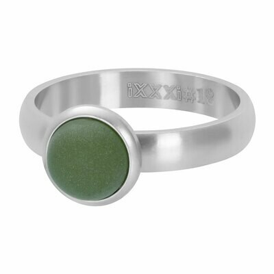 iXXXi Ring 4mm zilverkleur - matt olivine stone 10 mm