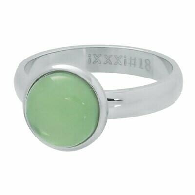 iXXXi Ring 4mm zilverkleur - green stone 12 mm