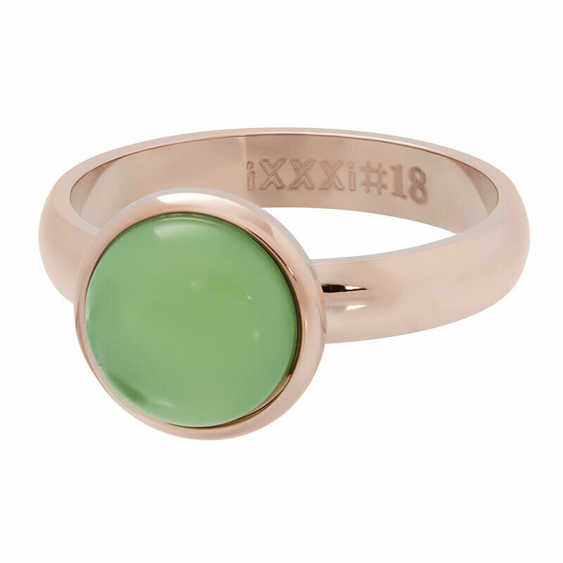 iXXXi Ring 4mm rosekleur - green stone 12 mm