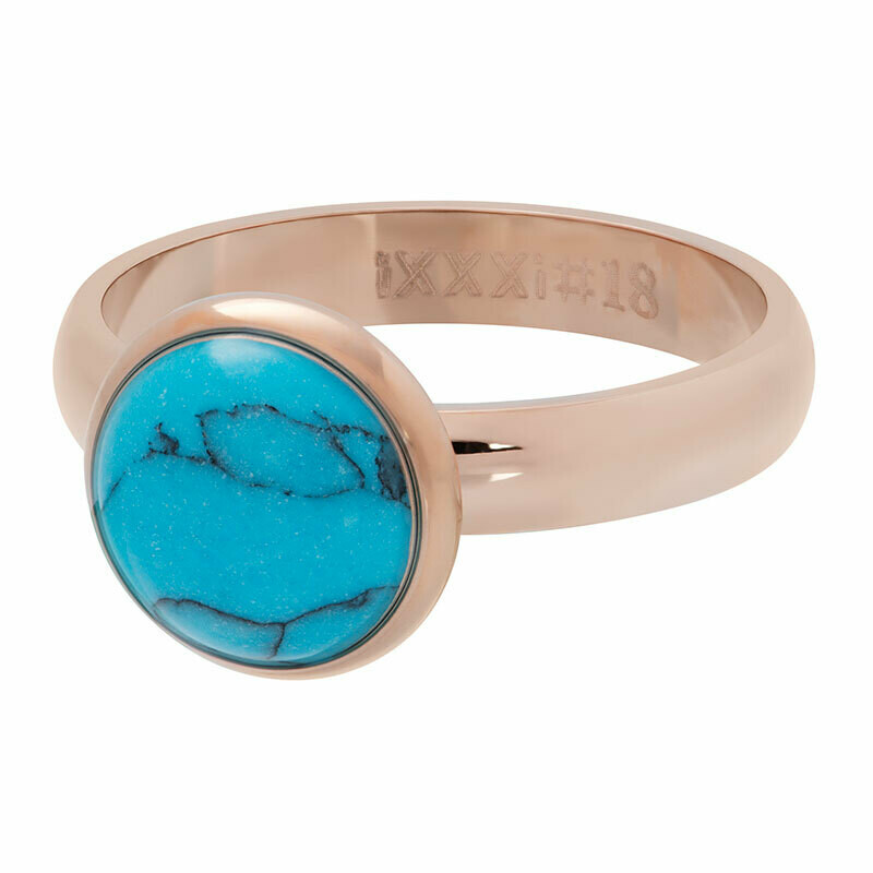 iXXXi Ring 4mm rosekleur - Turquoise stone 12 mm