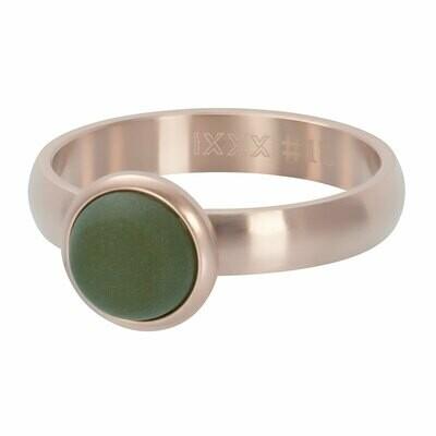 iXXXi Ring 4mm rosekleur - matt olivine stone 10 mm
