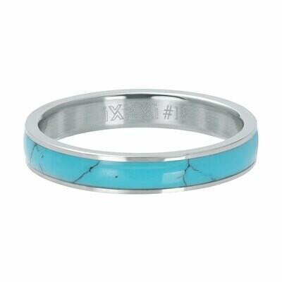 iXXXi Ring 4mm zilverkleur - Turquoise stone