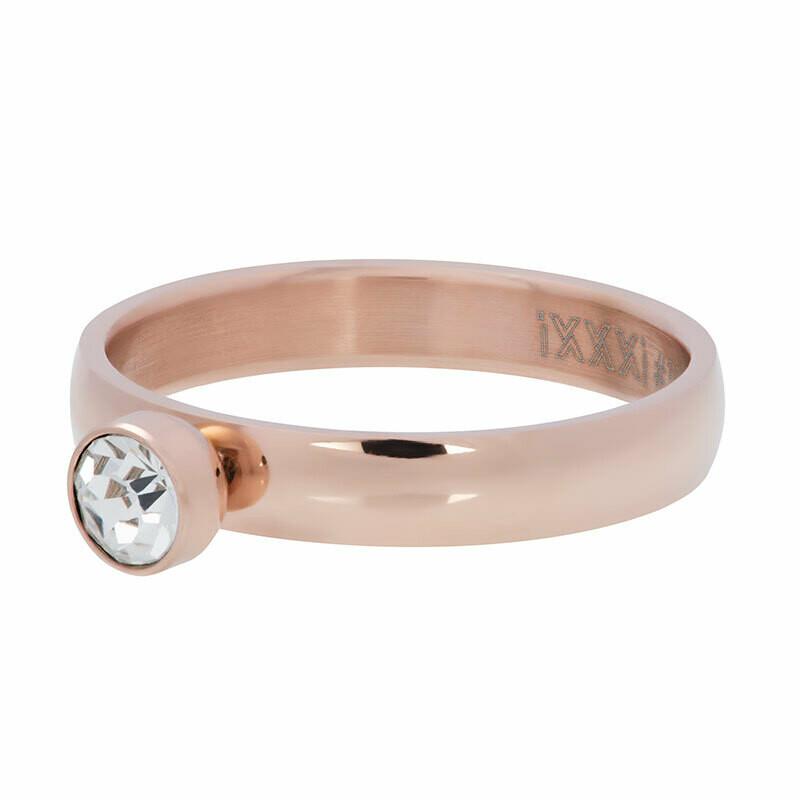 iXXXi Ring 4mm - zirconia 1 stone crystal rosekleur