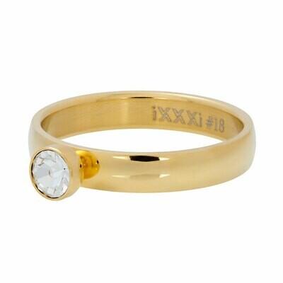 iXXXi Ring 4mm - zirconia 1 stone crystal goudkleur