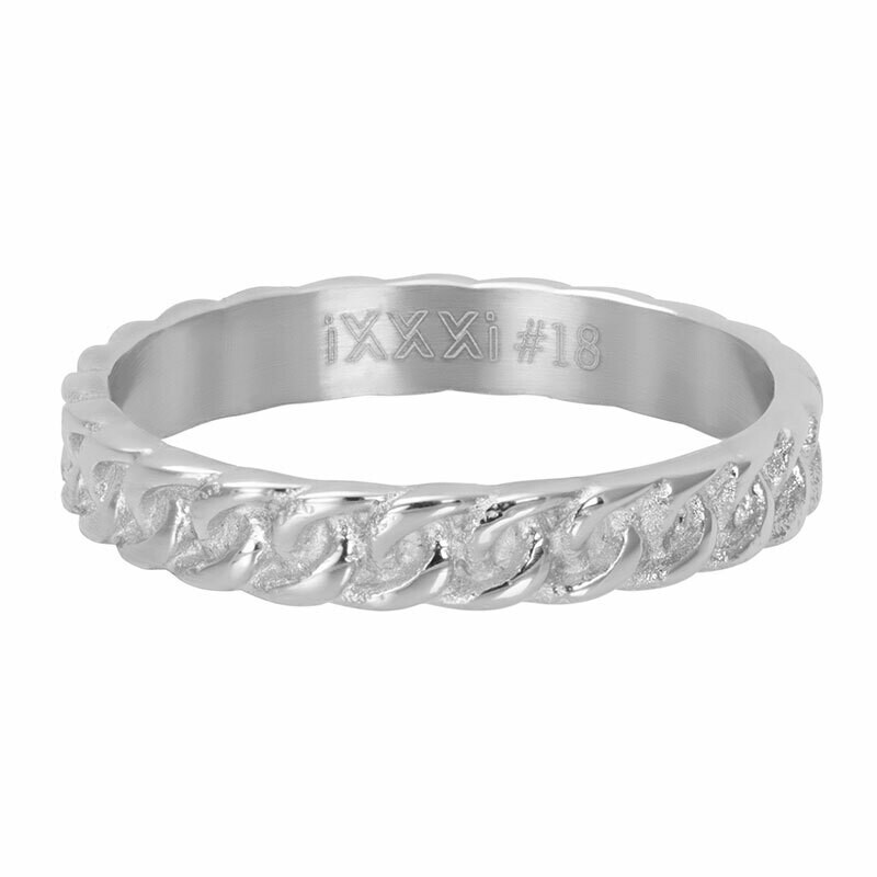 iXXXi Ring 4mm zilverkleur - Curb Chain