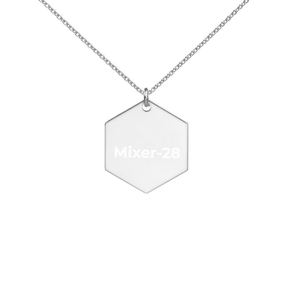 Engraved Silver Hexagon Necklace