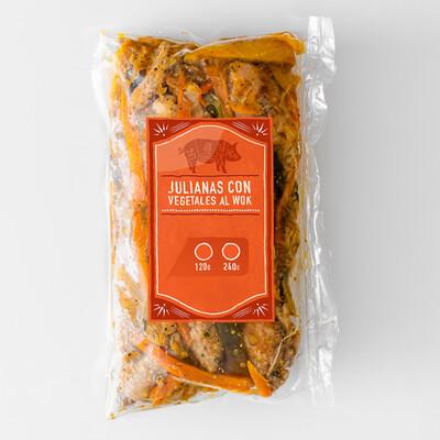 Julianas de Cerdo con Vegetales al Wok