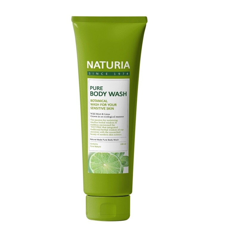 Гель для душа МЯТА/ЛАЙМ PURE BODY WASH (Wild Mint & Lime), 100 мл NATURIA