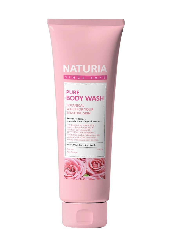 Гель для душа РОЗА/РОЗМАРИН PURE BODY WASH (Rose & Rosemary), 100 мл NATURIA