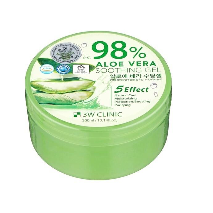 Гель универсальный АЛОЭ Aloe Vera Soothing Gel 98% 3W CLINIC, 300 мл