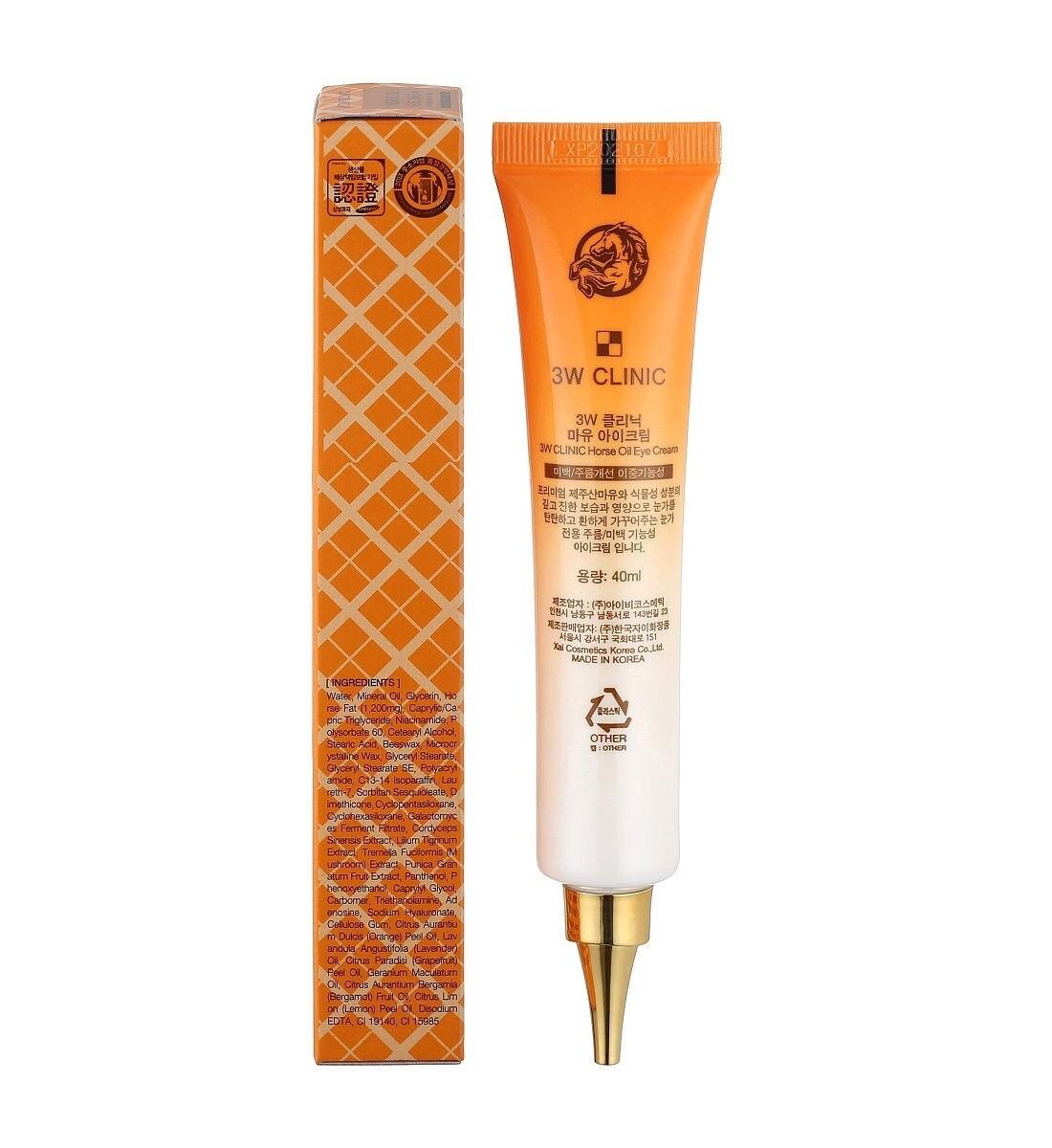 Крем для глаз с лошадиным маслом  Whitening & Anti Wrinkle Eye Cream Horse Oil, 40 мл 3W CLINIC