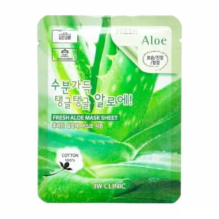 Маска для лица с алоэ Fresh Mask Sheet Aloe 3W Clinic
