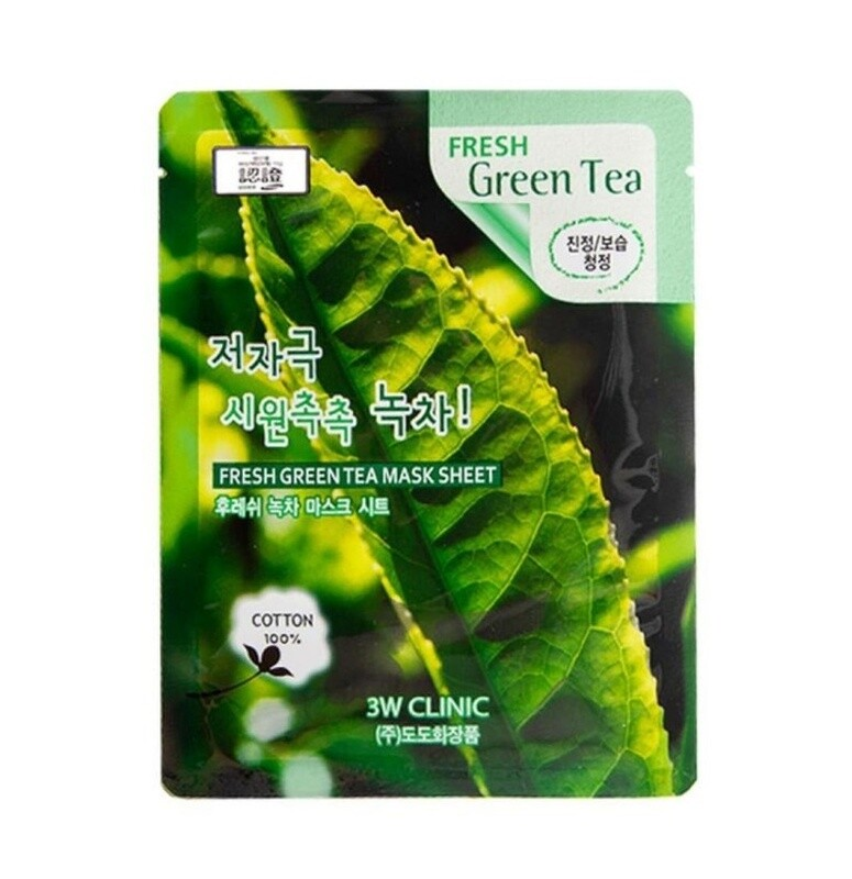 Маска для лица с зеленым чаем Fresh Green Tea Mask Sheet 3W Clinic