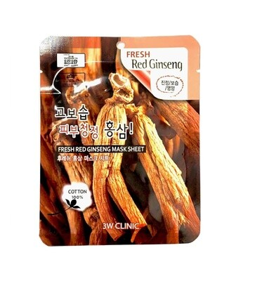 Маска для лица антивозрастная с женьшенем Fresh Red Ginseng Mask Sheet 3W Clinic