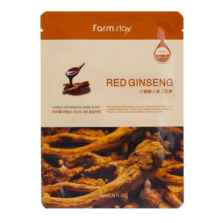 Маска с экстрактом корня красного женьшеня Visible Difference Mask Sheet Red Ginseng FarmStay