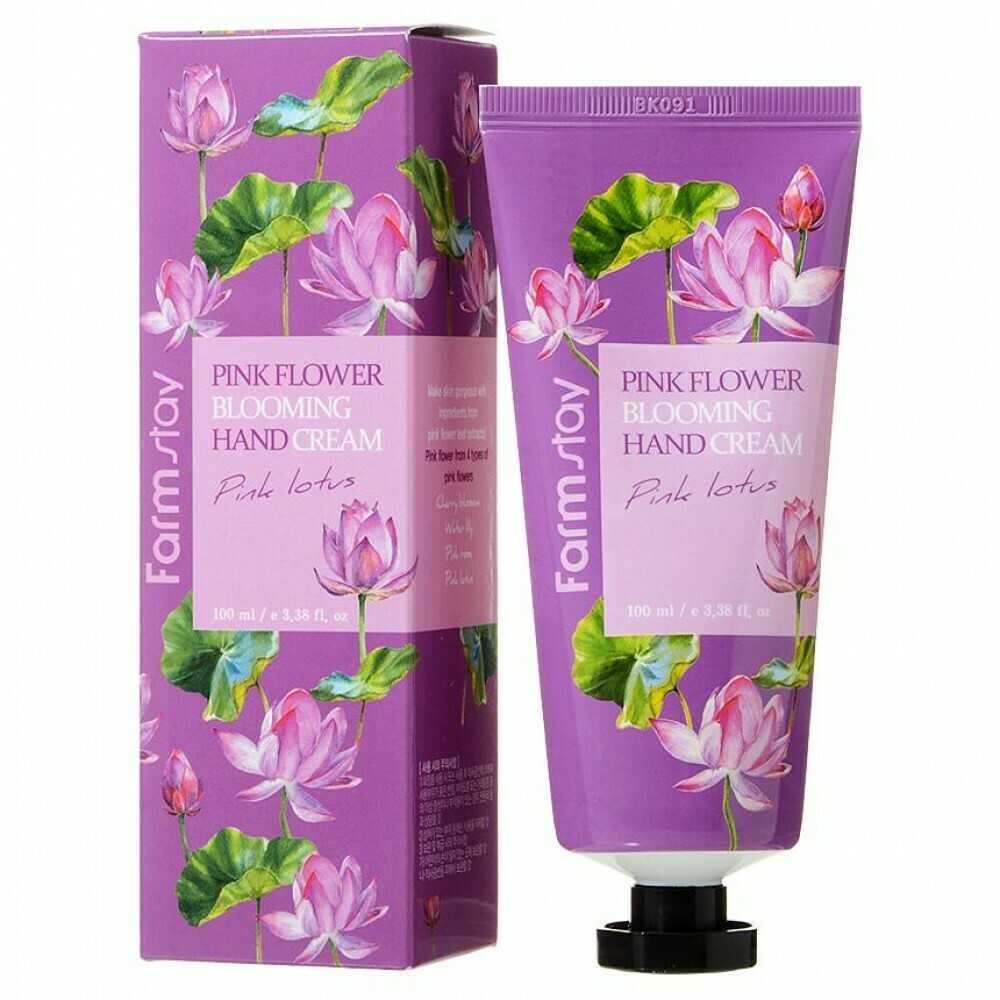 Крем для рук Лотос Pink Flower Blooming Pink Lotus Hand Cream FarmStay
