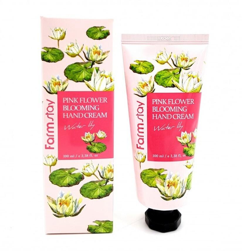 Крем для рук Лилия Pink Flower Blooming Water Lily Hand Cream FarmStay