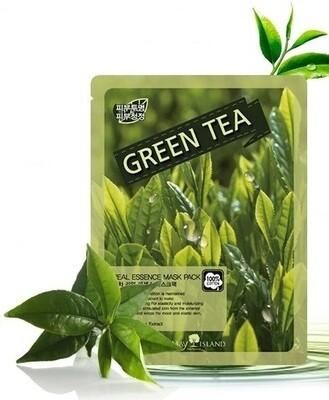 Тонизирующая маска для лица с зеленым чаем Real Essence May Island