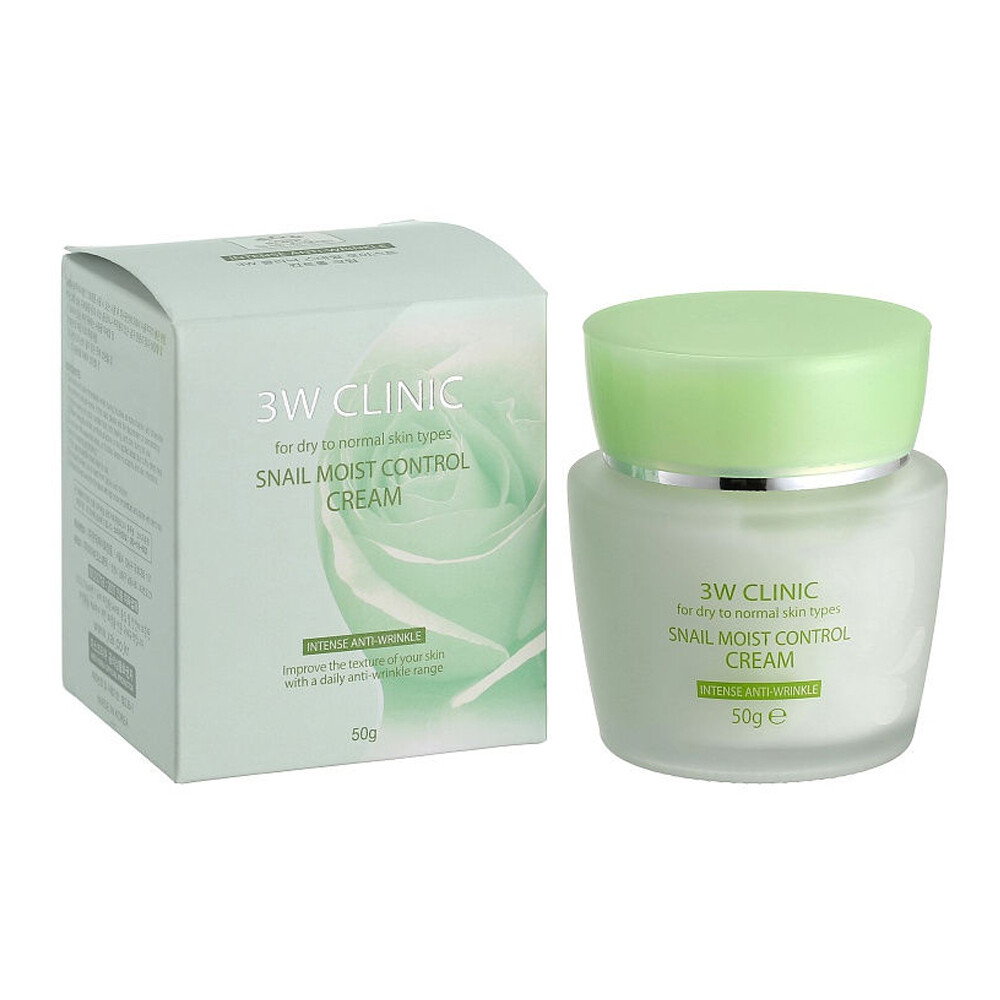 Восстанавливающий крем для лица с улиточным муцином Snail Moist Control Cream 3W CLINIC, 50 мл