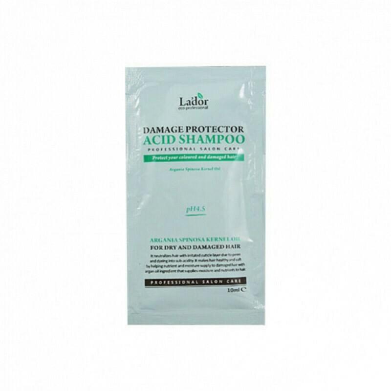 Бесщелочной шампунь для волос Защита от повреждений Damaged Protector Acid Shampoo LaDor пробник