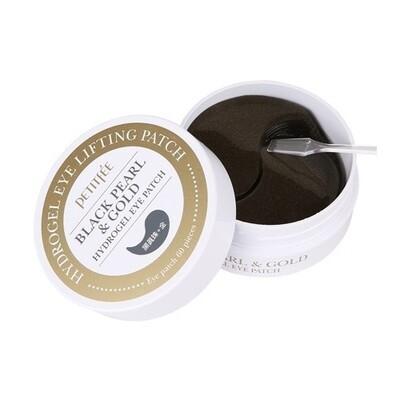 Гидрогелевые патчи для глаз ЖЕМЧУГ/ЗОЛОТО Black Pearl&Gold, PETITFEE 60 шт