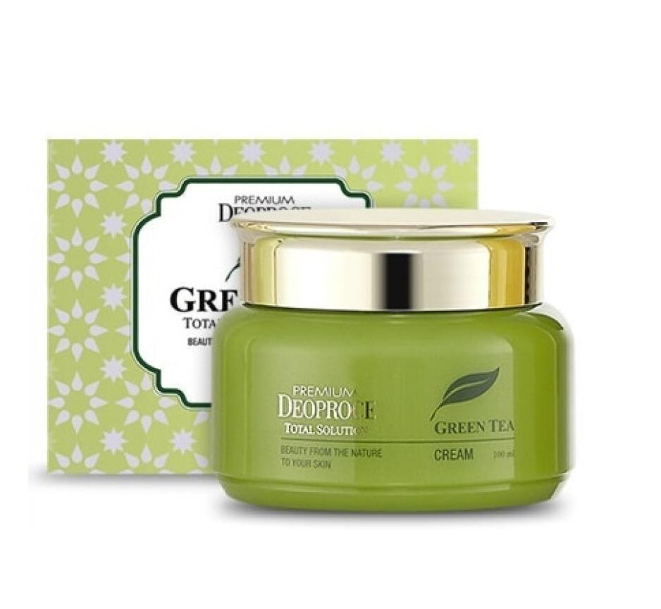 Увлажняющий крем для лица с экстрактом зелёного чая Deoproce Premium Greentea Total Solution
