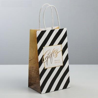 Пакет подарочный крафт Gifts, 12 × 21 × 9 см
