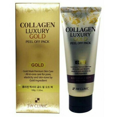 Маска-плёнка с коллагеном и золотом Collagen and Luxury Gold Peel Off Pack, 3W Clinic 180 мл