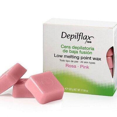 Воск для депиляции в брикетах розовый Depilflax 500 гр.