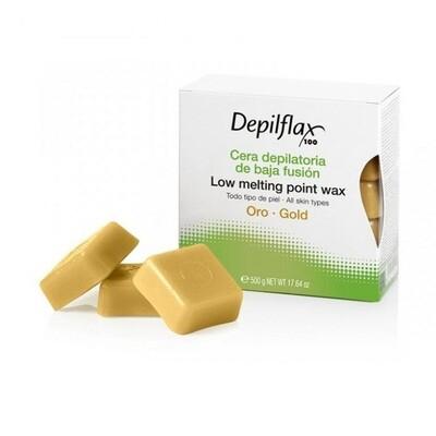 Воск для депиляции в брикетах золотой Depilflax 500 гр.