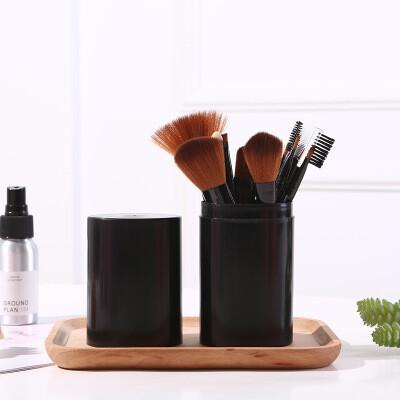 Набор кистей для макияжа в тубе (12 шт) черный