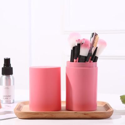 Набор кистей для макияжа в тубе (12 шт) розовый