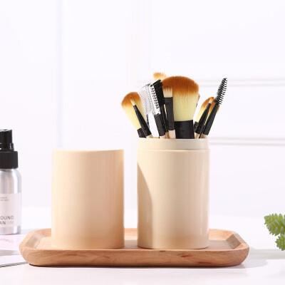Набор кистей для макияжа в тубе (12 шт) беж