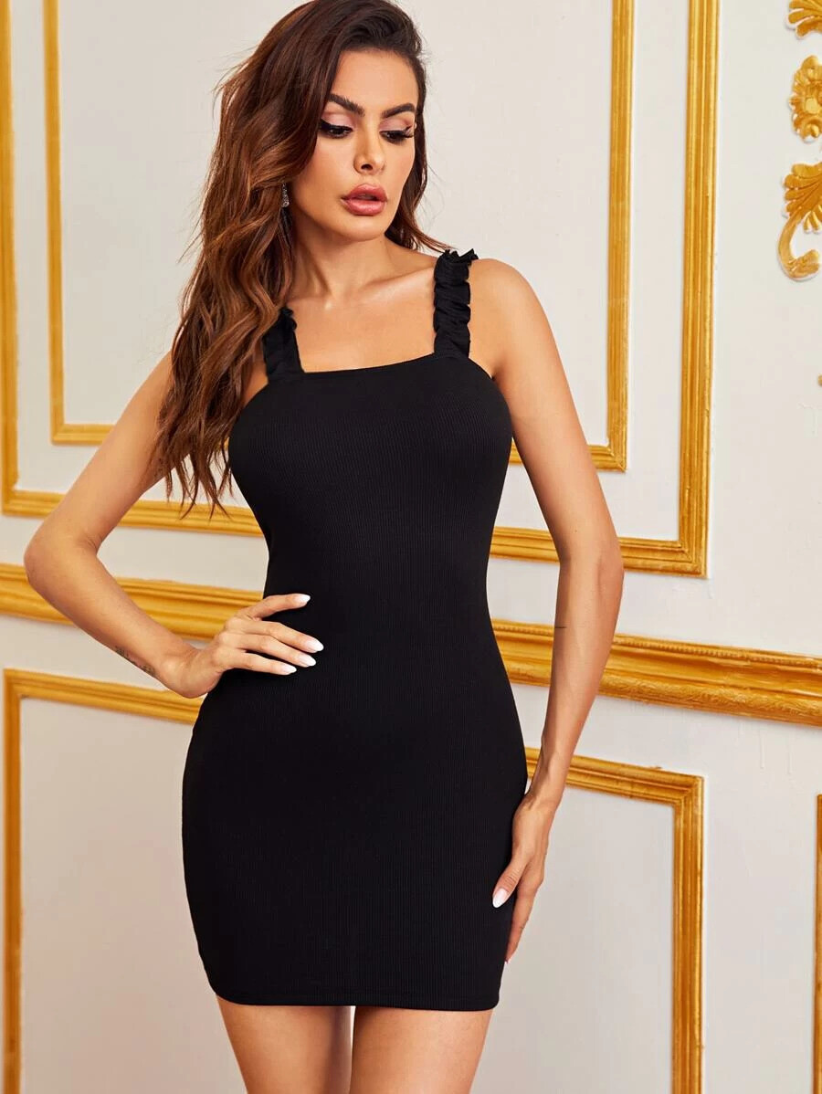 Frill Trim Strap Bodycon Dress