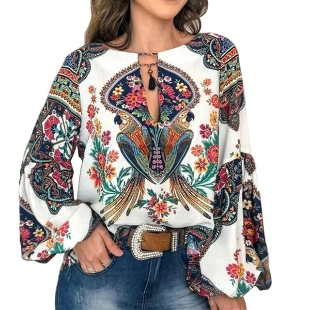 Casual Vintage Shirt Blouse Floral Printed