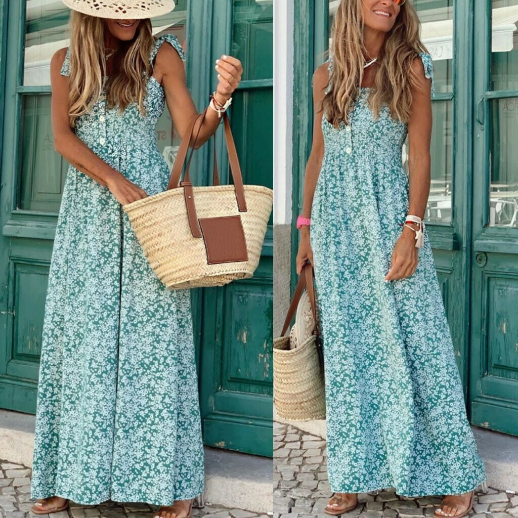 Women Boho Long Dress Sleeveless Backless Floral