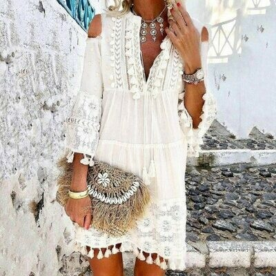 Elegant White Lace Tassel Three Quarter Sleeve Women Mini Dress