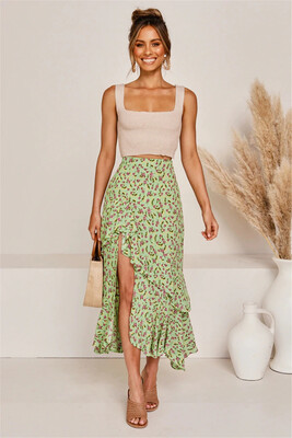 Floral Print High Waist Ruffle Skirts Women Summer 2020