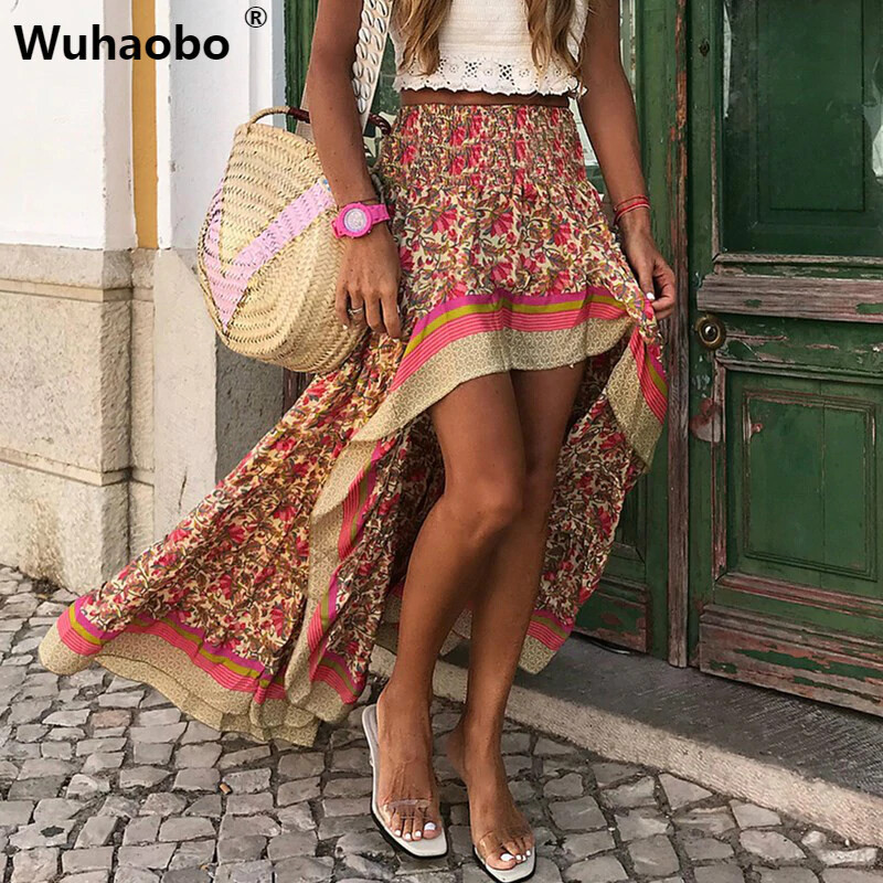 Unique Design Front Short Rear Length Print Maxi Skirts