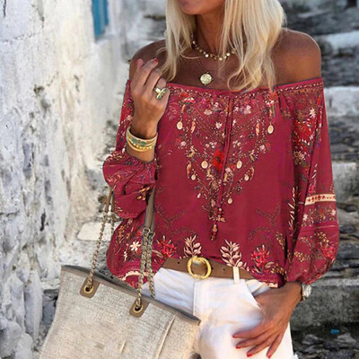 Bohemian One Shoulder Long Sleeve Women's Top