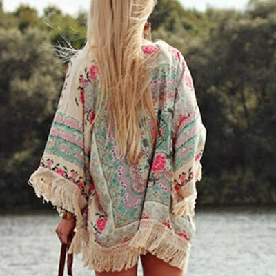 Women Fringed Tassel Shawl Cape Beach