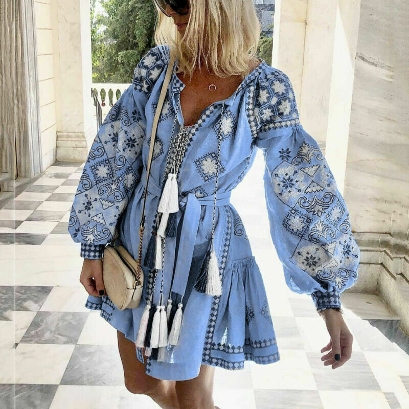 Women Boho Floral Print Long Sleeve Mini Dress