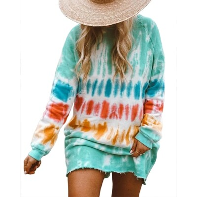 New Casual Rainbow Tie Dye Print Sweatshirt Dress for Women Long Sleeve