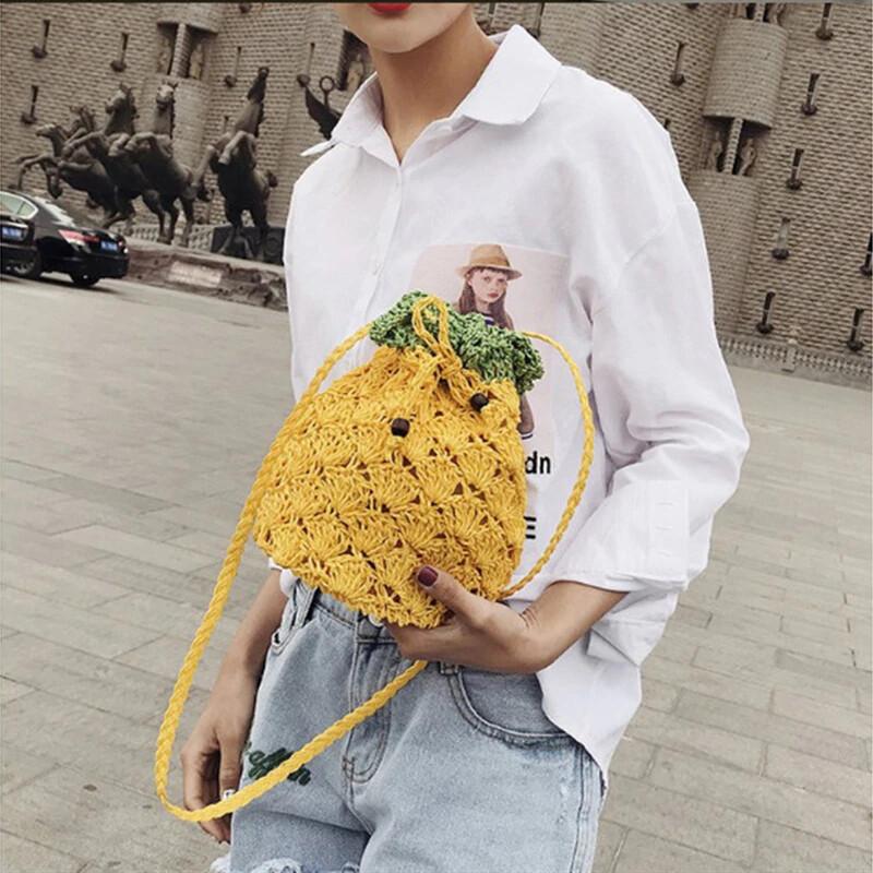 Fashion Beach Pineapple Stylish Straw Woven Bags Rattan